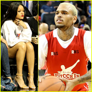 Rihanna Watches Chris Brown Play Basketball in Courtside Seats