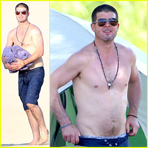 Robin Thicke Goes Shirtless During Lake Perris Camping Trip
