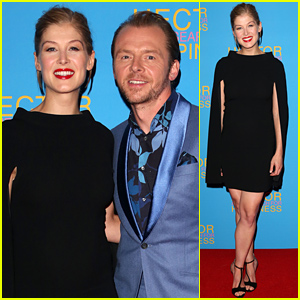 Gone Girl's Rosamund Pike Camouflages Her Baby Bump in a Black Dress on the Red Carpet