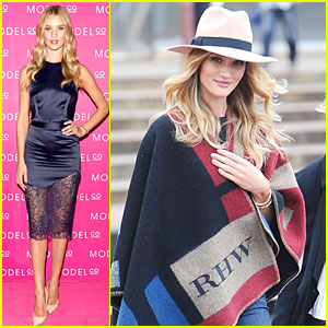 Rosie Huntington-Whiteley Stuns in Lacy Dress at ModelCo Launch