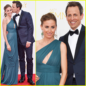 Seth Meyers Kisses Wife Alexi Ashe Before Hosting Emmys 2014!