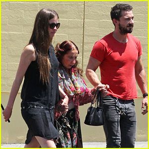 Shia LaBeouf & Mia Goth Hold Hands with His Mom Shayna