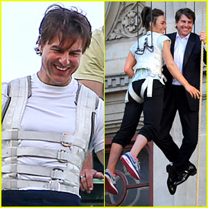 Tom Cruise Hangs in the Air with a Stunt Woman for 'MI:5'!