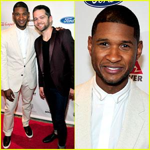 Usher & 'Voice' Winner Josh Kaufman Reunite at Charity Lunch!