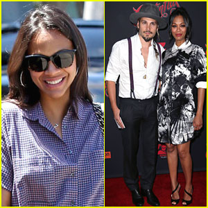 Pregnant Zoe Saldana Brings Her Husband Marco Perego to 'Cantinflas' Premiere