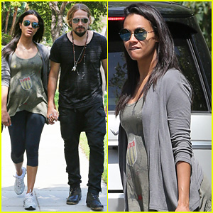 Pregnant Zoe Saldana & Hubby Marco Perego Step Out for Sunny Stroll After Taking On the Ice Bucket Challenge