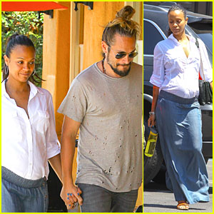 Pregnant Zoe Saldana Shops For New Clothes With Husband Marco Perego