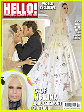 Donatella Versace Designed Angelina Jolie's Wedding Dress - Get the Details!
