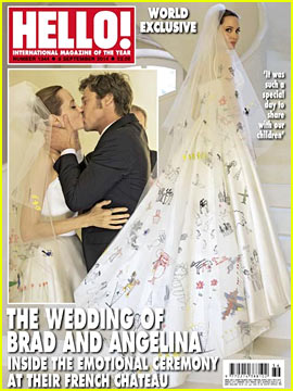 Angelina Jolie's Wedding Dress & Veil Featured Her Kids' Designs