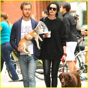 Anne Hathaway & Adam Shulman Take Injured Dog for Walk