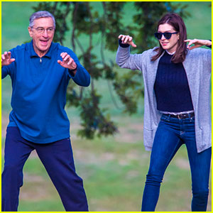 Anne Hathaway Does Tai Chi in the Park with Robert De Niro!
