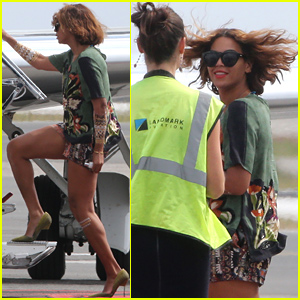 Beyonce Had Quite the Windy Departure in Nice!