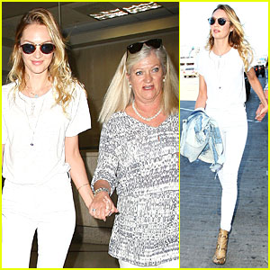 Awww... Candice Swanepoel & Mom Eileen Hold Hands at LAX Airport