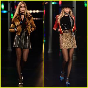 Cara Delevingne Is Leggy & Gorgeous for Saint Laurent's Paris Fashion Show