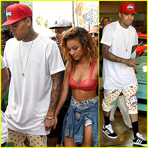 Chris Brown Gets Moral Support From Girlfriend Karrueche Tran During 'X' Promo
