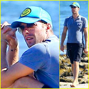 Chris Martin Hits the Beach without Jennifer Lawrence