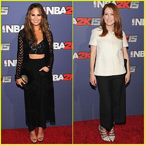 Chrissy Teigen & Julianne Moore Bring Girl Power to NBA 2K15 Launch