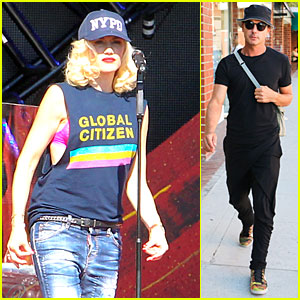 Gwen Stefani Flashes Pink Bra at Global Citizen Festival Soundcheck