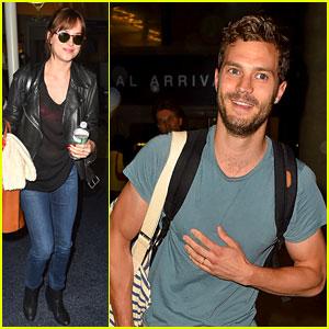 Jamie Dornan & Dakota Johnson Fly to Los Angeles Together!