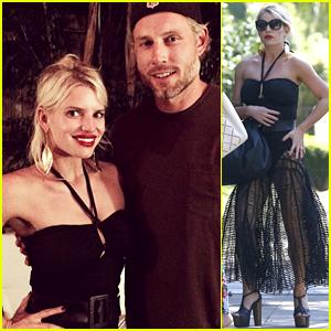 Jessica Simpson Looks Very Skinny in Her Sheer Skirt & Bodysuit Combo for Eric Johnson's Birthday