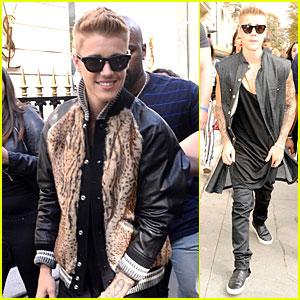 Justin Bieber Adds Pop of Fur To His Varsity Jacket in Paris
