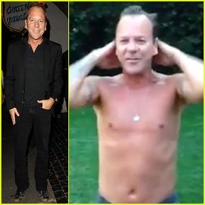 Kiefer Sutherland Does the Ice Bucket Challenge Totally Shirtless!
