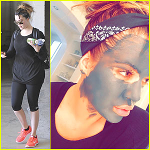 Khloe Kardashian Sports Charcoal Face Mask After Sweaty Workout