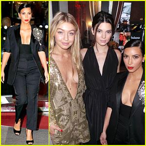 Kim Kardashian Joins Kendall Jenner & Gigi Hadid at Carine Roitfeld's PFW Party!