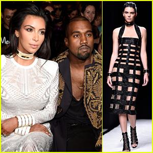Kim Kardashian & Kanye West Watch Kendall Jenner Walk the Balmain Runway