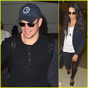 Matt Damon & Wife Luciana Return to L.A. After George Clooney's Wedding