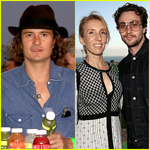 Orlando Bloom & Aaron Taylor-Johnson Rock Button Up Shirts to Rock4EB Event