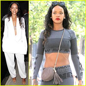 Rihanna Rocks Plunging White Suit at Edun Fashion Show