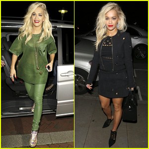 Rita Ora Dons Mesh Green Top for 'The Voice UK' Filming