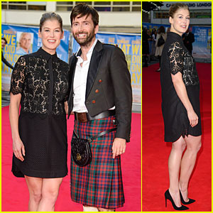 Rosamund Pike's Co-Star David Tennant Wears Kilt at 'What We Did On Our Holiday' Premiere