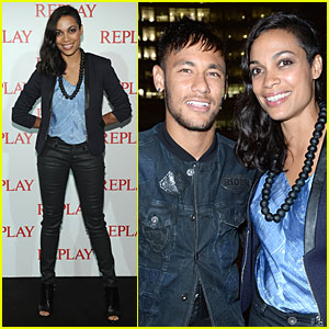 Rosario Dawson & Soccer Star Neymar Replay Milan Fashion Week's Biggest Party
