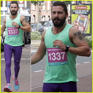 Shia LaBeouf Runs the #Metamarathon in His Colorful Spandex with the Help of Museum Guests