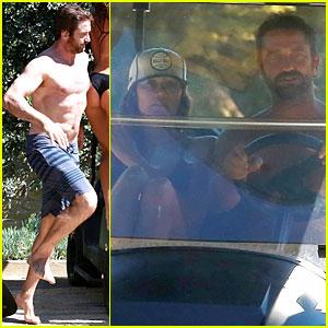 Shirtless Gerard Butler Goes Surfing with Bikini-Clad Mystery Woman in Malibu!