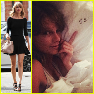 Taylor Swift Loves Her Monogrammed Pillows in London!
