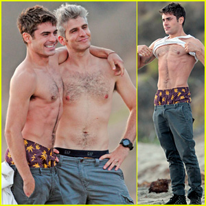 Zac Efron Hangs Out Shirtless with 'Catfish' Star Max Joseph!