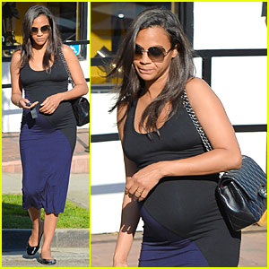 Pregnant Zoe Saldana Preps For Twin Babies at Bel Bambini