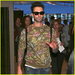 Adam Levine Takes a Break From Being a Jetsetter & Returns to L.A.