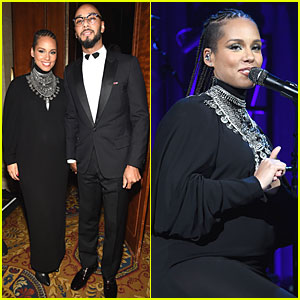Alicia Keys Puts Her Baby Bump on Display During Angel Ball Performance