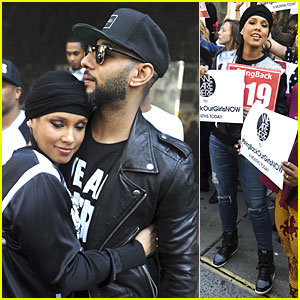 Alicia Keys & Husband Swizz Beatz Hold Protest to Bring Back Our Girls
