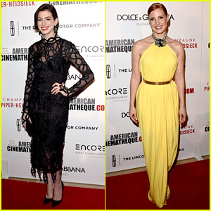 Anne Hathaway & Jessica Chastain Rep 'Interstellar' at American Cinematheque Event!