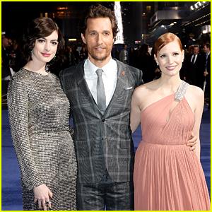 Anne Hathaway & Jessica Chastain Sandwich in Matthew McConaughey at 'Interstellar' Premiere