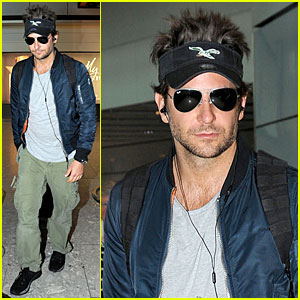 Bradley Cooper Rocks a Visor & Spiked Hair For London Landing