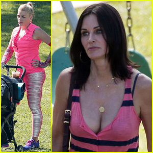 Courteney Cox Shows Major Cleavage on 'Cougar Town' Set
