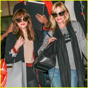 Dakota Johnson Touches Down at LAX with Mother Melanie Griffith After 'Fifty Shades of Grey' Reshoots!