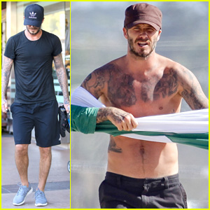 David Beckham Boasts Shirtless Tattooed Body on the Beach!