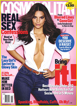 Gone Girl's Emily Ratajkowski Flaunts Tons of Cleavage on 'Cosmopolitan' Cover!